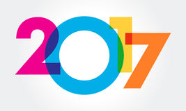 Happy new year 2017 Text Design vector. A great colorful illustration for 2017 calender Royalty Free Stock Photo