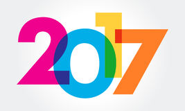 Happy new year 2017 Text Design vector. A great colorful illustration for 2017 calender Royalty Free Stock Photography