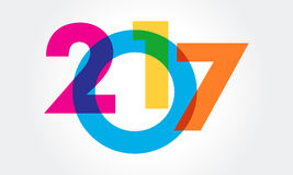 Happy new year 2017 Text Design vector. A great colorful illustration for 2017 calender Stock Photography