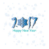 Happy New Year 2017 text design. Vector greeting illustration with blue numbers and snowflake Royalty Free Stock Photos