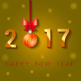 Happy New Year 2017 text design. Vector greeting illustration with Christmas balls bow and stars.  Stock Photography