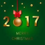 Happy New Year 2017 text design. Vector greeting illustration with Christmas balls bow and stars. Happy New Year 2017 text design. . Vector greeting illustration vector illustration