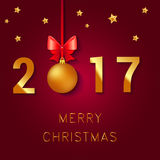 Happy New Year 2017 text design. Vector greeting illustration with Christmas balls bow and stars. Happy New Year 2017 text design.. Vector greeting illustration Stock Image