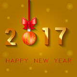 Happy New Year 2017 text design. Vector greeting illustration with Christmas balls bow and stars.  Royalty Free Stock Image