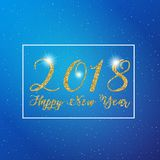 Happy New Year 2018 text design. Vector greeting illustration with golden glitter effect. Stock Photography