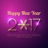 Happy New Year 2017 text design. Vector greeting illustration with golden numbers and snowflake Stock Photography