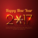 Happy New Year 2017 text design. Vector greeting illustration with golden numbers and snowflake Stock Image