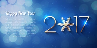 Happy New Year 2017 text design. Vector greeting illustration with golden numbers and snowflake Royalty Free Stock Photos