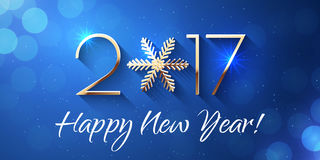Happy New Year 2017 text design. Vector greeting illustration with golden numbers and snowflake Stock Photo