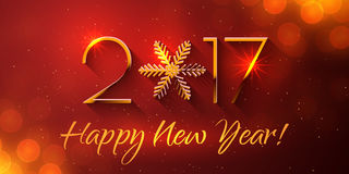 Happy New Year 2017 text design. Vector greeting illustration with golden numbers and snowflake Stock Images