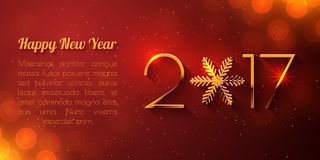 Happy New Year 2017 text design. Vector greeting illustration with golden numbers and snowflake Royalty Free Stock Images