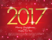 Happy New Year 2017 text design. Vector greeting illustration. With golden numbers and snowflake background Royalty Free Stock Photo