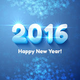 Happy New Year 2016 text design. Vector greeting illustration with shining 3d numbers. Festive blue background vector illustration