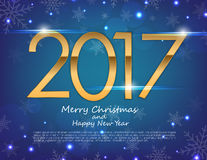 Happy New Year 2017 text design. Vector greeting illustration wi. Th golden numbers and snowflake background Stock Photography