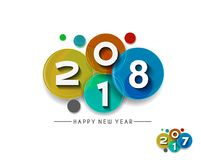 Happy new year 2018 Text Design. Vector illustration Royalty Free Stock Photography