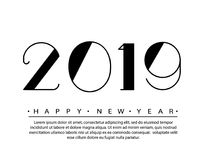 2019 Happy new year Text Design Vector illustration. Banner with 2019 Numbers on white Background. Numbers minimalist. Style. Design of greeting card Royalty Free Stock Photography