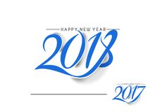 Happy new year 2017 and 2018 Text Design. Vector illustration Stock Image
