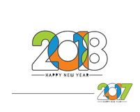 Happy new year 2018 Text Design. Happy new year 2018 Text Design, Vector illustration Stock Image