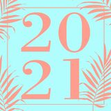 Happy new year 2021 Text Design Vector illustration turquoise stock illustration
