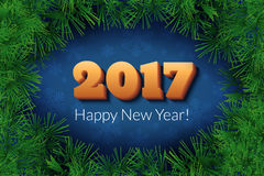 Happy New Year 2017 text design. Vector new season festive background or banner with numbers and pine branches. Dark holiday illustration Stock Images