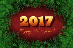 2017 Happy New Year text design. Vector new season festive background or banner with numbers and pine branches. Dark red holiday illustration Stock Illustration