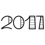 Happy new year 2017 text design. On the white background royalty free illustration