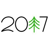 Happy new year 2017 text design. On the white background stock illustration