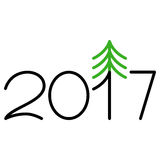 Happy new year 2017 text design. On the white background vector illustration