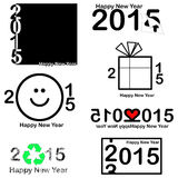 Happy new year 2015 Text Design on white background, vector.  stock illustration