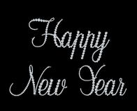 Happy New Year text with diamond. Vector Royalty Free Stock Image