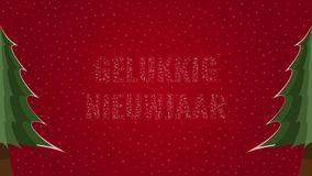 Happy New Year text in Dutch 'Gelukkig Nieuwjaar' filled with text on a red snowy background with trees on sides. Happy New Year text in Dutch 'Gelukkig vector illustration