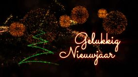 Happy New Year text in Dutch \'Gelukkig Nieuwjaar\' over pine tree. Happy New Year text in Dutch 'Gelukkig Nieuwjaar' over pine tree with sparkling particles and royalty free stock photo