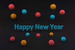 Happy new year with text and fantasy ball. In dark room stock illustration