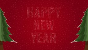 Happy New Year text filled with text on a red snowy background with trees on sides. Happy New Year text filled with 'Happy New Year' text in many different stock illustration