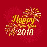 Happy new year 2018 text and firework on red backgroumd vector design Royalty Free Stock Photo