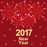 Happy New Year 2017 text and fireworks. Vector Stock Photos