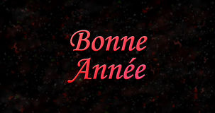 Happy New Year text in French Bonne ann?e on black background Stock Photography