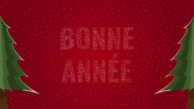 Happy New Year text in French 'Bonne Annee' filled with text on a red snowy background with trees on sides. Happy New Year text in French 'Bonne Annee' filled royalty free illustration