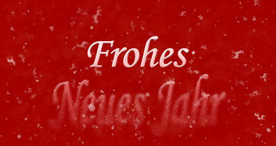 Happy New Year text in German Frohes neues Jahr turns to dust. From bottom on red background Vector Illustration