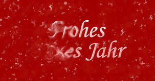 Happy New Year text in German Frohes neues Jahr turns to dust. From left on red background Stock Illustration