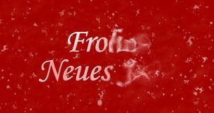 Happy New Year text in German Frohes neues Jahr turns to dust. From right on red background Stock Illustration