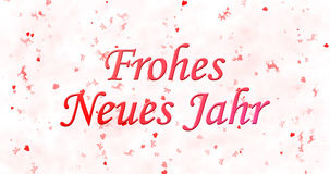 Happy New Year text in German Frohes neues Jahr on white backg. Round Vector Illustration