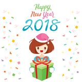Happy New Year 2018 Text And Girl With Gift Box. Merry Christmas Xmas Objects Animals Festive Celebrations vector illustration