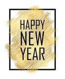 Happy New Year text. Gold Happy New Year or Christmas isolated background. Black border frame. Golden texture for card. Holiday celebration decoration vector illustration
