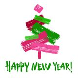 Happy new year text. Green brush calligraphy on red background with abstract christmas tree Royalty Free Illustration