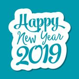 Happy new year 2019 text for greeting card royalty free illustration