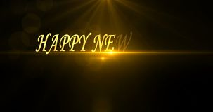 Happy New Year. 2020. Text greeting and wishes. Card with flares and sparkles. Dark background. 4K video.  stock footage