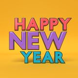 Happy New year text greetings 3d rendering Royalty Free Stock Photo