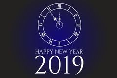 HAPPY NEW YEAR 2019 text illustration, clock with Roman numbers, Holiday vector. HAPPY NEW YEAR 2019 text illustration, clock with Roman numbers, blue and black stock illustration
