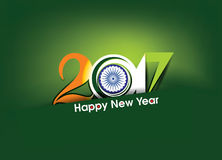 Happy new year 2017 text in indian flag style Royalty Free Stock Photo